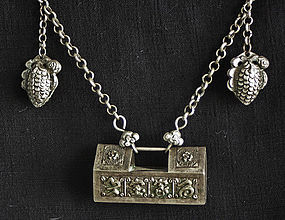 Traditional Antique Chinese Childs Silver Lock Necklace