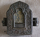 Antique Tibetan Copper Gau with 2 monk amulets