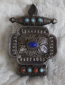 Small  Tibetan Silver Gau turquoise and coral beads