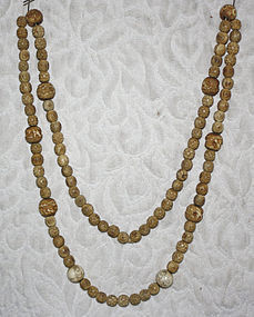 Chinese carved bone and ivory beads lone necklace