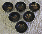 Set of 6 antique Japanese lacquerware sake cups