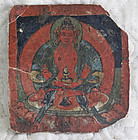 Tibetan Buddhist Tsakli painting card writting on back