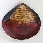 large Japanese Wakasa  lacquer clam shell