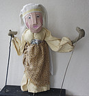 antique European large hand puppet of matron