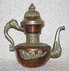 Large Antique Copper and Silver Mongolian Teapot
