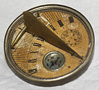 Unique antique Chinese Hong Kong pocket sundial compass for Feng Shui
