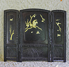 Meiji Period Japanese table 3 panel screen scholars art