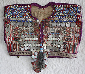 Baluch beaded dress bodice with coins