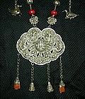 Antique Chinese Silver Lock Necklace with coral beads