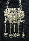Antique Chinese Silver Lock Kylin necklace