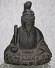 Antique Japanese Okimono carved wooden figure Tenjin