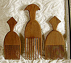 3 African Nigerian Yoruba tribe wood carved hair combs