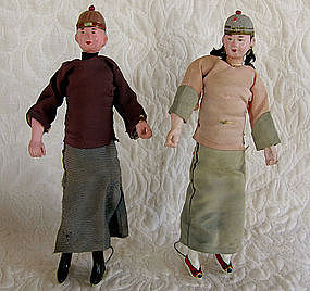 Young Male and female antique Chinese dolls