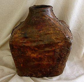 Large Antique Mongolian Leather Saki Storage Container ...