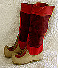 Antique Traditional Tibetan Buddhist Monk wool boots