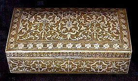antique Indo Persian metal ornate damascene box