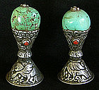 Two Tibetan silver seals with turquoise and coral beads