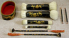 Antique Japanese 9 piece set lacquer for make-up