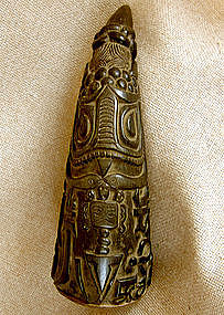 Antique Tibetan Buddhist Priest Carved Horn Rattle