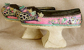 Antique Chinese Manchu Embroidered Platform Shoes