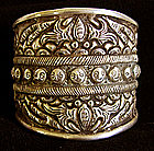 Chinese Miao Ethnic Minority Wide Silver Cuff Bracelet
