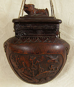 Antique Chinese carved wooden tobacco container