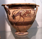 AN ANCIENT CORINTHIAN BLACK-FIGURE COLUMN KRATER