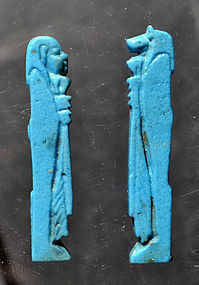 A FINE PAIR OF ANCIENT EGYPTIAN FAIENCE AMULETS