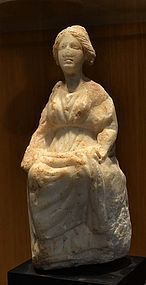 AN ANCIENT ROMAN MARBLE FIGURE OF TYCHE