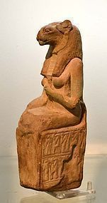 A LARGE ANCIENT EGYPTIAN FAIENCE SEKHMET
