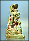 AN ANCIENT EGYPTIAN FAIENCE ISIS HORUS AMULET