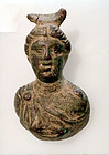 AN ANCIENT ROMAN BRONZE DIANA APPLIQUE