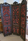 3 Panel  Heavily Carved  Screen