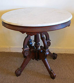 Victorian Oval Marble Top Table