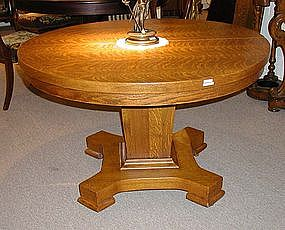 Tiger Oak Dining Table with Arts & Crafts Pedestal