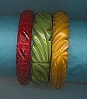 Three Carved Bakelite Bangles