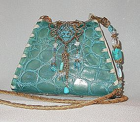 TURQUOISE ALLIGATOR PURSE BY MAYA :  handbag contest1 crocodile alligator
