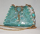 TURQUOISE ALLIGATOR PURSE BY MAYA