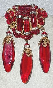 MIRIAM HASKELL RED BROOCH