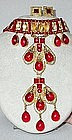 DE LILLO RED AND GOLD PENDANT NECKLACE AND EARRINGS