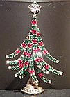 DOROTHY BAUER RED AND GREEN CHRISTMAS TREE PIN