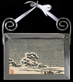 Original Japanese Print Mounted as an Ornament