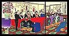 Sino-Japanese War Triptych by Kokunimasa