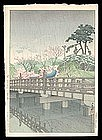 Early Hasui Woodblock - Benkei Bridge - 1931
