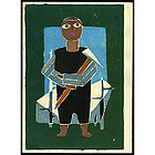 Early Azechi Woodblock Print - Boy with Axe