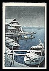 Hasui Woodblock - Snow at Mukojima