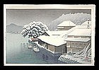 Hasui Woodblock - Evening Snow at Ishimaki