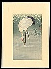 Ohara Koson Woodblock - Japanese Crane