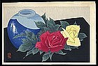 Unusual Gakusui Woodblock - Floral Still Life