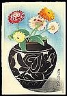Rare Toyonari Woodblock - Floral Still Life